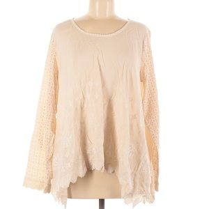 Sundance long sleeve cream eyelet tunic medium